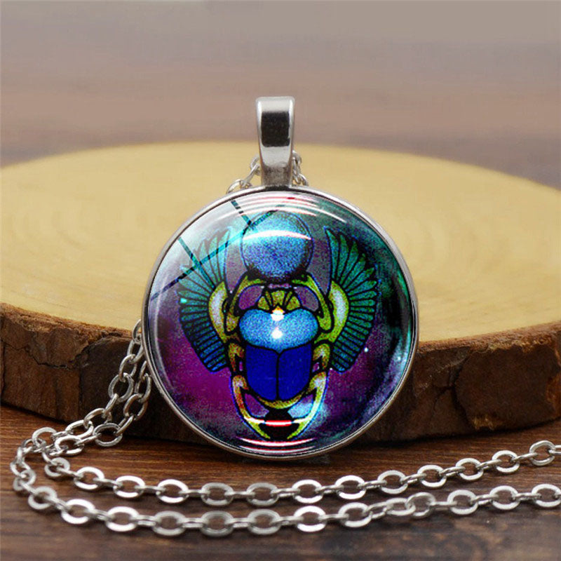 Egyptian Scarab Beetle With Round glass Charms Alloy Pendants Necklaces Antique Silver Jewelry Gift - Rebirth Eternity