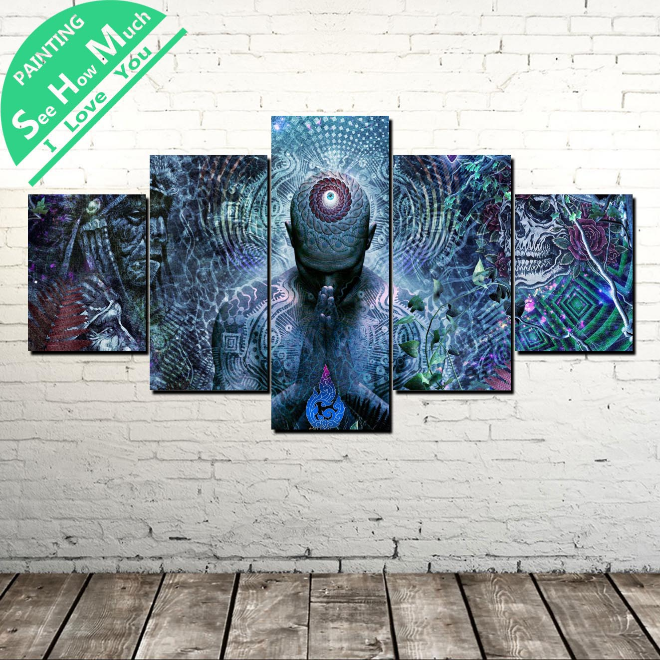 5 Piece Ancient Egyptian Mythology Osiris Canvas Painting