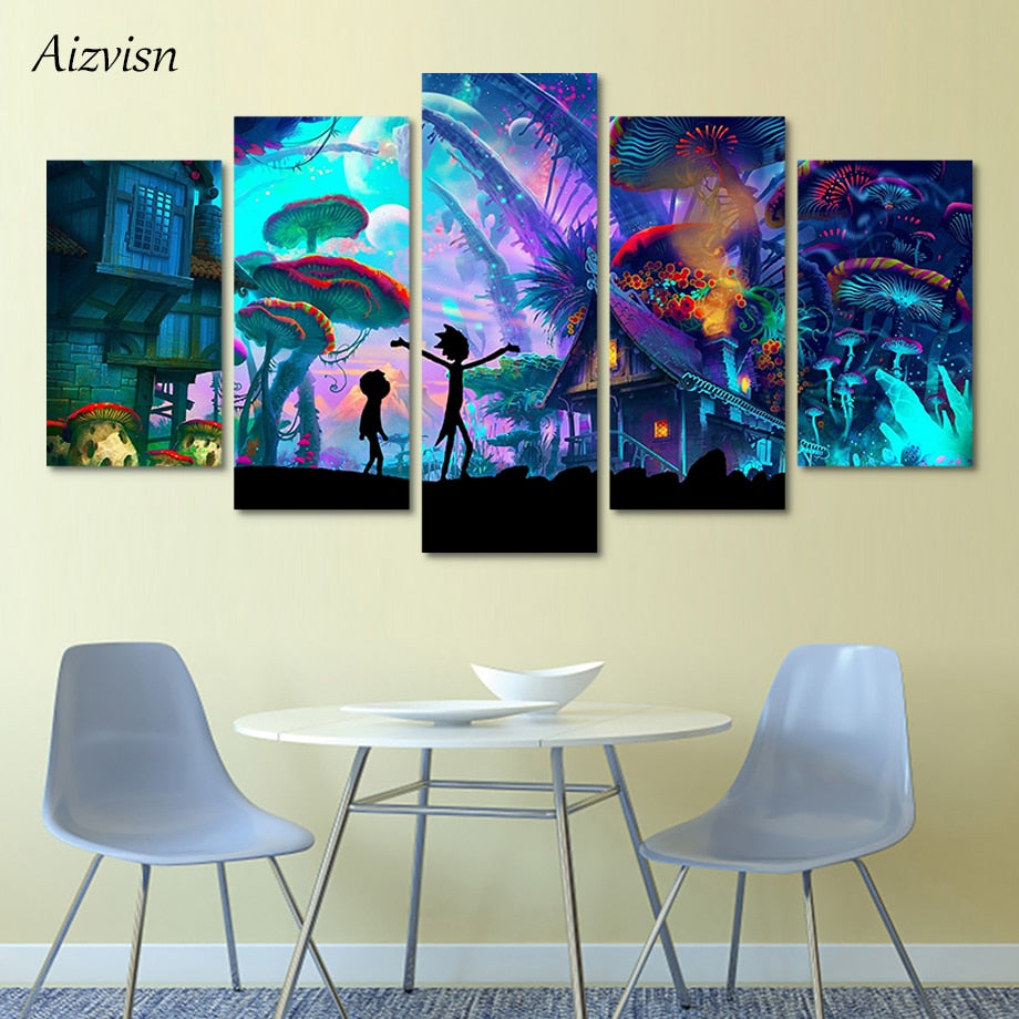 5 Panel Canvas Painting Rick and Morty Cartoon Anime Painting  cheap painting cartoon network