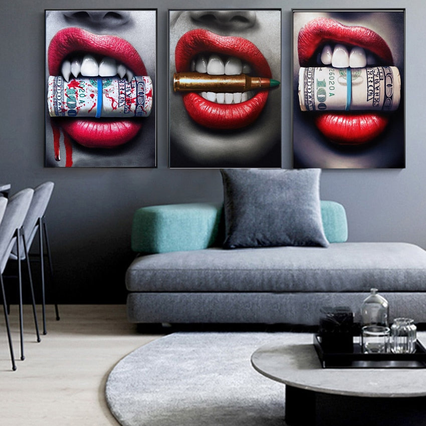 Red Lips with Money Bullet Poster Print Wall Art Oil Painting on Canvas Picture