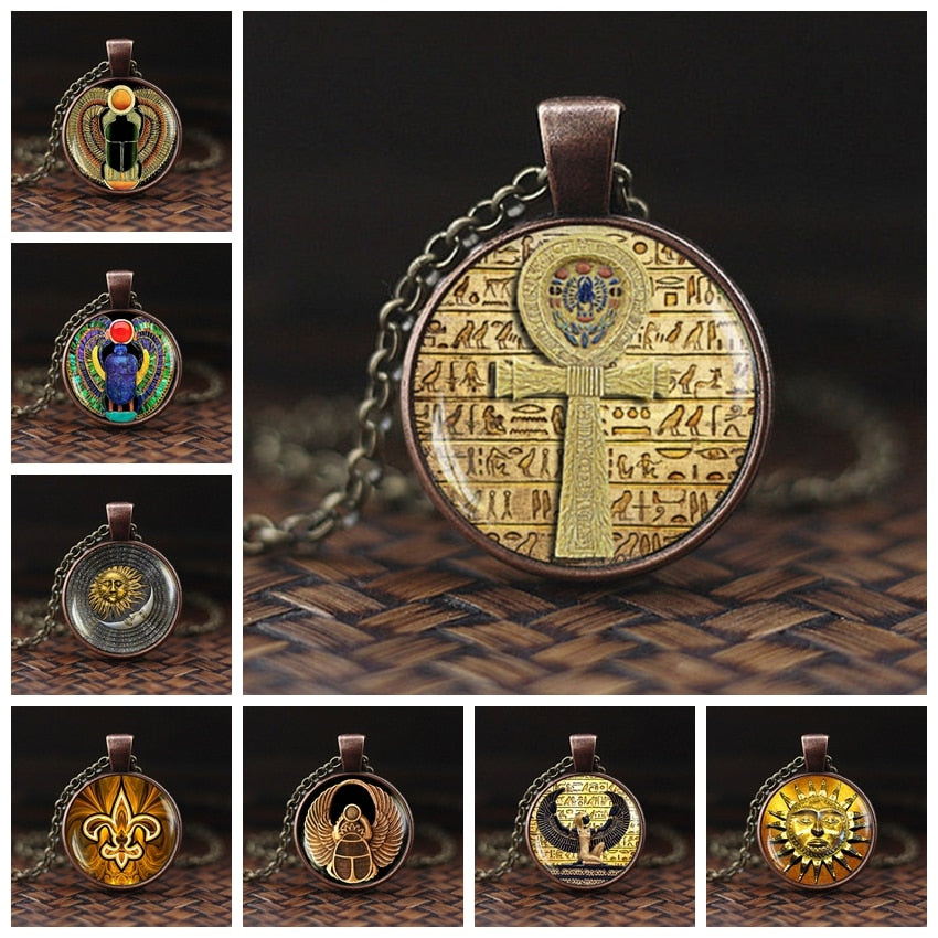 2019 Symbol of Strength Egyptian Scarab Glass Dome Pendant Necklace Ancient Eye of Horus Egypt Jewelry Fashion Charm Women Gift