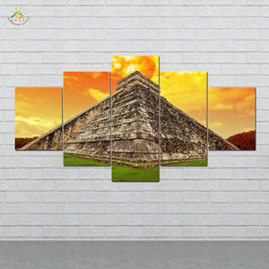 ANCIENT ALIENS Aztec Mayan Canvas 5 piece painting