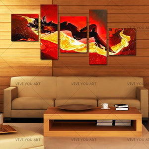 Large Handpainted Abstract Nude Oil Paintings on Canvas 5 Panel Pictures Sexy Naked Women Wall Painting