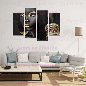 Egyptian Queen Beauty Black Woman Portrait Wall Art Canvas Print Golden Picture Painting for Office Hallway Home Wall Decor Gift