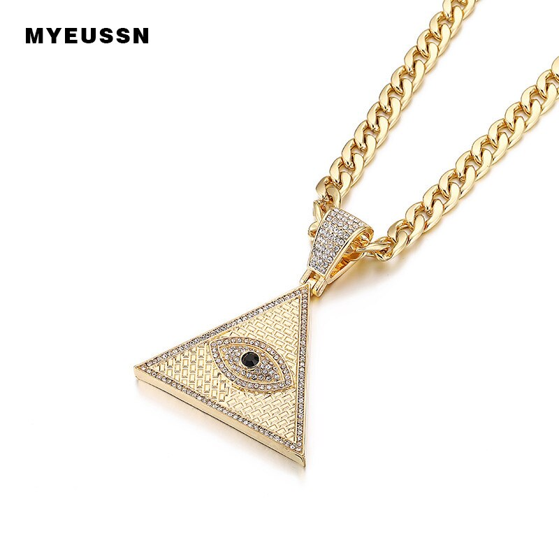 Triangle Egyptian Pyramid Necklaces&Pendant with cuban chain Iced Out Illuminati Evil Eye Of Horus Gold/Silver Hip Hop jewelry