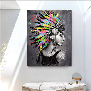 African woman abstract oil painting