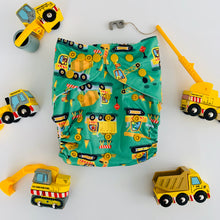 Load image into Gallery viewer, Bear & Moo Construction Trucks Cloth Nappy