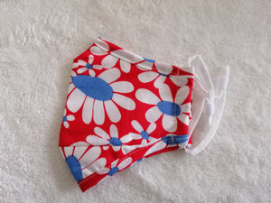 Kids red flowers cotton facemask