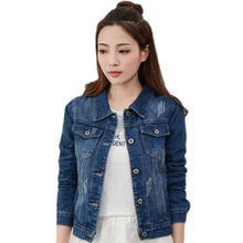 Load image into Gallery viewer, 2019New Denim Jacket Light Blue Bomber Short Jeans Jacket Casual Ripped Denim Outwear 2XL Slim Long Sleeve Black Jeans Jack Coat