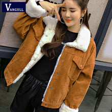 Load image into Gallery viewer, VANGULL Women Winter Jacket Thick Fur Lined Coats Parkas Fashion Faux Fur Lining Corduroy Bomber Jackets Cute Outwear 2019 New