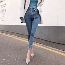 Load image into Gallery viewer, Vintage Single-breasted Women Denim Jeans High Waist Stretch Pants Capris Streetwear Female Split Cuff Jeans Pants 2019 Autumn
