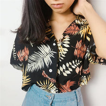 Load image into Gallery viewer, hirigin New Chiffon Womens Casual One size Blouses Female Hawaiian Fashion Floral Short Sleeve Shirts Ladies Summer Loose Tops