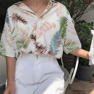 hirigin New Chiffon Womens Casual One size Blouses Female Hawaiian Fashion Floral Short Sleeve Shirts Ladies Summer Loose Tops