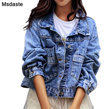 Load image into Gallery viewer, Jeans Jackets Coats Women 2019 Short Casual Denim Coat New Autumn Long Sleeve Jaqueta Feminina Chaquetas Mujer Jeans Jacket