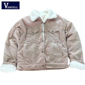 VANGULL Women Winter Jacket Thick Fur Lined Coats Parkas Fashion Faux Fur Lining Corduroy Bomber Jackets Cute Outwear 2019 New