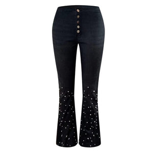 Women Sexy Big Flare Jeans Pearl Beading Wide Leg Pants Denim Office Lady Casual High Waist Long Trousers Elegant Stretchy Pant