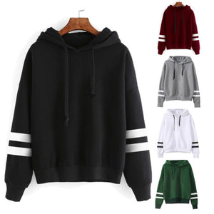 Black Friday Deals 2018 New Striped Long Sleeve Solid Hooded Hoodie arrival Womens  Sweatshirt Jumper Hooded Warm Pullover Tops