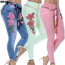 Load image into Gallery viewer, Oeak 2019 Women Stretch High Waist  Embroidery Jeans Floral Print Denim Pencil Pants Female Trousers Plus Size 5XL