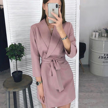 Load image into Gallery viewer, Women Sexy Sashes a Line v Neck Dress Ladies Long Sleeve Solid Casual Elegant Dress 2019 New Fashion Winter Dress Vintage Mini