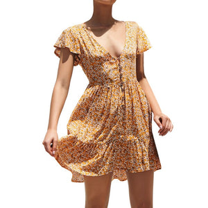 2019 Boho Casual Print Floral Dress Women Summer Floral Party Evening Beach Short Mini Dress Sundress Z4