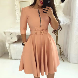 Women Fall Half Sleeve Elegant Tunic Party Dress Female Solid Zipper Belted Pleated Casual Office Dress Vestidos Mujer L0041