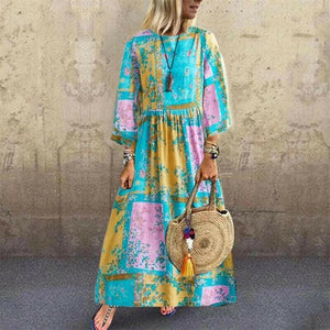 Women Long Sleeve Dress Maxi Long Evening Party Beach Dress Sundress Plus Size