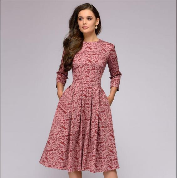 Autumn and winter ladies retro long-sleeved dress floral print slim dress prom party evening multicolor elegant print dress