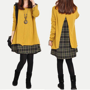 2019 Autumn Winter Women Plaid Spliced Short Dress Long Sleeve Round Neck Loose Casual Party Female Vintage Dresses Plus Size