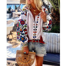 Load image into Gallery viewer, New Women White Floral Ethnic style Embroidered Blouse And Tops Long Sleeve Turn Down Collar Elegant Shirt blusas mujer de moda