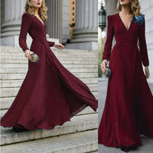 Load image into Gallery viewer, Women Sexy Formal Maxi Dress V Neck Long Sleeve Solid color Bandage Office Ladies Evening Party Prom Gown