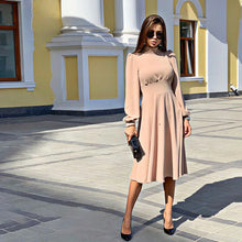 Load image into Gallery viewer, Women Vintage a Line Party Dress Ladies Lantern Sleeve o Neck Elegant Fashion 2019 New Winter Autumn Midi Dress Vestidos