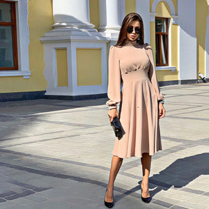 Women Vintage a Line Party Dress Ladies Lantern Sleeve o Neck Elegant Fashion 2019 New Winter Autumn Midi Dress Vestidos