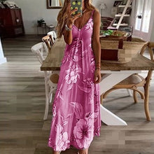 Load image into Gallery viewer, 2020 Women Casual Loose Strap Dress Floral Summer Sexy Boho Bow Camis Befree Maxi Dress Plus Sizes Big Large Dresses Robe Femme