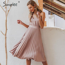Load image into Gallery viewer, Simplee Sexy v-neck women party dress Elegant spaghetti strap female pleated office dress Solid female pink midi summer dresses