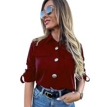 Load image into Gallery viewer, Vintage Long Sleeve Pocket Shirt For Women Autumn Tops Blouse Turn Down Collar Khaki White Black Shirt Fashion Female Blusas D25