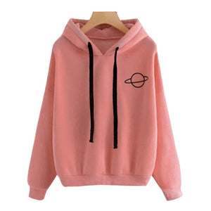 Women Hoodies Sweatshirt Hoody Planet Printed Loose Drawstring Long Sleeve Casual Pullovers Girls Tops Winter Spring Large Size
