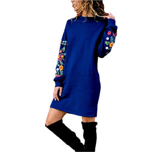 BKMGC  Women Winter Elegant Dress Winter Cotton Warm   Fashion  Casual Printing Sweatshirt Long Sleeve Dress Plus Size S-3xl