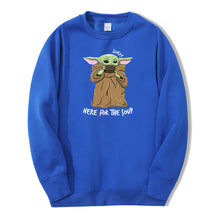 Load image into Gallery viewer, Cute Baby Yoda Sweatshirt Hoodies Men The Mandalorian Star War Pullover Fleece Streetwear Here For The Soup Crewneck Sweatshirt