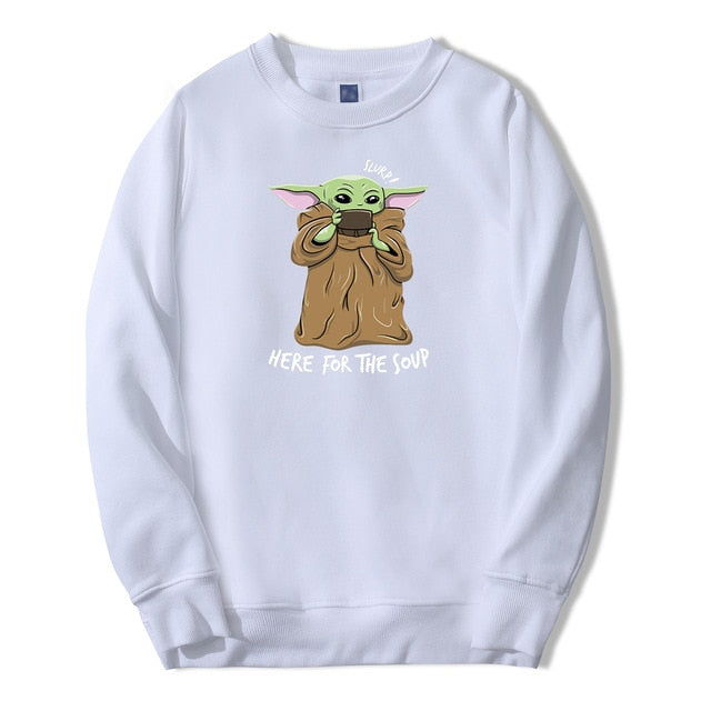 Cute Baby Yoda Sweatshirt Hoodies Men The Mandalorian Star War Pullover Fleece Streetwear Here For The Soup Crewneck Sweatshirt