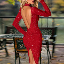 Load image into Gallery viewer, 2020 Sexy Halter Bright Silk Shiny Split Dress Women Spring Solid Backless Bodycon Party Dress Elegant Long Sleeve Midi Dresses