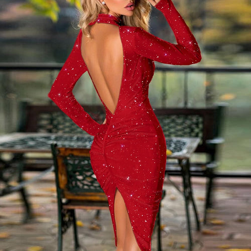 2020 Sexy Halter Bright Silk Shiny Split Dress Women Spring Solid Backless Bodycon Party Dress Elegant Long Sleeve Midi Dresses