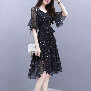 2019 Women's Summer sexy dress V-Neck Short Sleeve Star Print Dress Ladies Casual Vacation Beach Dresses