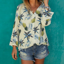 Load image into Gallery viewer, Harajuku Summer New Sexy Hawaiian Beach Vacation Pineapple Printed Shirts Woman Wild Long-sleeved V Cut Collar Fruit Blouses