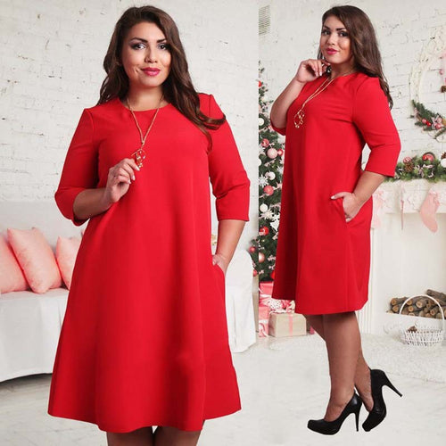 Fashion Women Dress Plus Size Dresses for Women 4xl 5xl 6xl  Autumn 3/4 Sleeve Party Dress Boho Beach Casual Loose Sundress