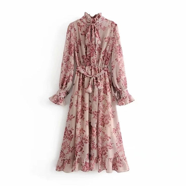 Autumn Vintage Floral Print Sashes Ruffled boho Dress Women 2019 Long Sleeve Pleated Dresses Casual ladies dresses Vestidos