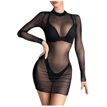 Load image into Gallery viewer, Women's Dresses Mini Dress Sheer Mesh See-Through plus size Long black Sexy Bodycon Clubwear Fashion vestidos mujer robe femme