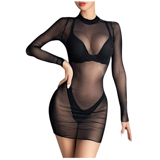 Women's Dresses Mini Dress Sheer Mesh See-Through plus size Long black Sexy Bodycon Clubwear Fashion vestidos mujer robe femme