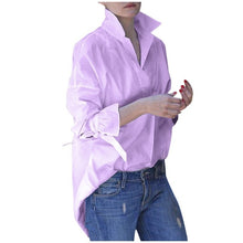 Load image into Gallery viewer, Spring Long Sleeve tops Women Casual shirt top Lapel Shirt 2020 fashion Plain Print Blouse Plus size shirt tops blouses women