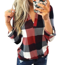 Load image into Gallery viewer, Sfit Women Casual Plaid Blouse Long Sleeve V Neck Sexy Shirt Womens Loose Fashion Jacket Shirt Top 2020 Autumn Winter Women