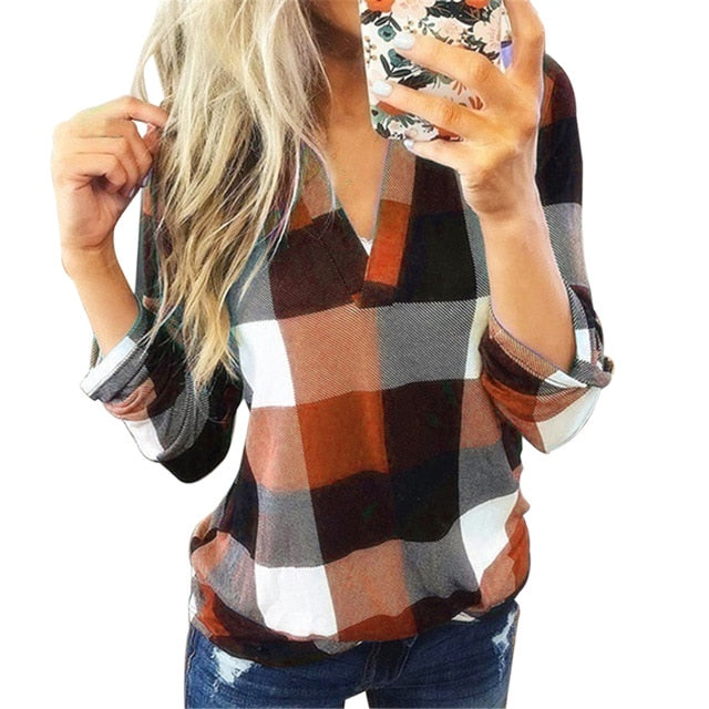 Sfit Women Casual Plaid Blouse Long Sleeve V Neck Sexy Shirt Womens Loose Fashion Jacket Shirt Top 2020 Autumn Winter Women